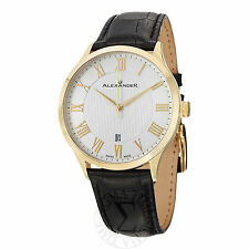 Alexander Mens A103-03 Statesman Triumph Leather Strap Goldtone Swiss Made Watch