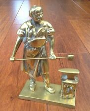 VINTAGE - SOLID BRASS BLACKSMITH / FOUNDRY WORKER FIGURINE WITH HAMMER & ANVIL
