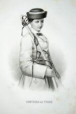 c1860 La Torre Contessa Lithographie-Porträt Riccio Italien Italia Garibaldi
