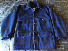 large vintage Thermo-King blue plaid double mackinaw wool jacket coat filson L