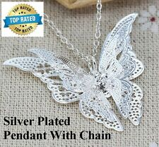 "Silver Plated Women's Butterfly Pendant And 20"" Link Chain Necklace D218"