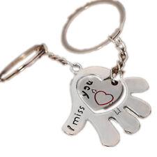 """Porte Cle Couple Coeur et Main """" I Miss You """" 2 Porte Clef idée cadeau Argente"""