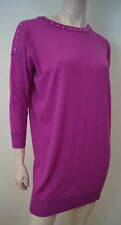 VERSACE Hot Pink 100% Wool Stud Neck Knitwear Jumper Dress / Long Top Sz:44 UK12