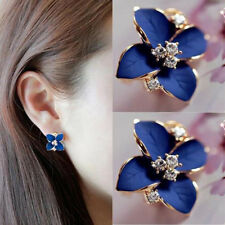 Fashion Women Elegant Blue Flower Charm Crystal Ear Stud Earrings Clip-On