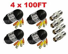 4 PACK PREMIUM 100Ft. HD BNC EXTENSION CABLES FOR Swann SYSTEMS