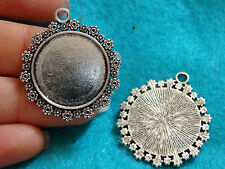 5 photo frame round charms pendants tibetan silver blanks jewellery making 33 mm