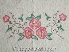 """Darling Well Quilted Embroidered Flowers Vintage Quilt 85"""" x 69"""""""