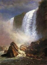 """Huge art Oil painting grand landscape - Falls of Niagara from Below canvas 36"""""""