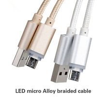 Nylon Braided LED Light Visible Micro USB Fast Charger Data Sync Cable Cord Lead