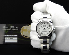ROLEX Mens Stainless DateJust White Roman Dial Oyster Bracelet 116200 SANT BLANC