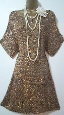 WALLIS 20S CHARLESTON DOWNTON DECO FLAPPER BEAD/SEQUIN/EMBELLISH KNIT DRESS L