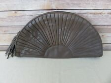 Brio brown leather large fan half moon clutch purse handbag