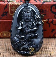 Natural Obsidian Hand-carved Ride Elephant Kwanyin Amulet Pendant Free Necklace