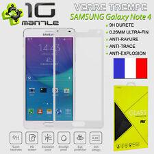 Protection/Protege Ecran Verre Trempé Samsung Galaxy Note 4 Total/Full Blanc 9H