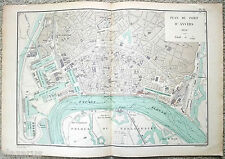 Vintage Original French Map of the Port of Antwerp, Belgium in 1894 - D'Anvers
