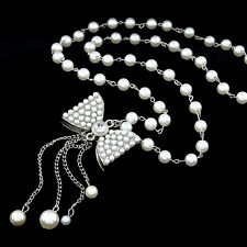 D29 Faux White Pearl Long Metal Bow Crystal Sweater Necklace