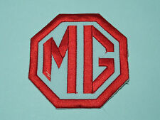 MOTORSPORTS RACING CAR SEW ON / IRON ON PATCH:- MG (d) RED & WHITE INITIALS