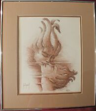 "Vtg 1980's Framed Ltd Edt Lithograph by Francis Saint-Genies ""REFLETS"" w/ COA"