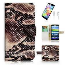Samsung Galaxy S5 Print Flip Wallet Case Cover! Snake Skin Leather P1445