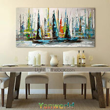 Not Framed Oil Painting on Canvas Art Large Abstract Sailboat Wall Decor Modern