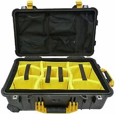"Pelican ""Colors"" Black & Yellow 1510 With Dividers (Yellow) & 1519 Lid Org."