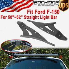 "2X 50~52"" Straight Light Bar Upper Top Mounts Brackets For 2004-2014 Ford F-150"