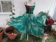 STUNNING RECYCLED SILK SARI PIXIE DRESS FOREST FAIRY WOODLAND ELF PAGAN SZ 6/16