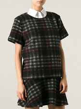 VANESSA BRUNO ATHÉ BAPTISTE PLAID TOP IN BLACK Size UK10 US6 IT42