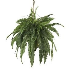 NEW BOSTON FERN GREEN HANGING BASKET ARTIFICIAL FAKE SILK PLANT NEARLY NATURAL