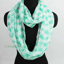 Fashion Coconut Palm Print Soft Infinity Loop Cowl Eternity Casual Voile Scarf