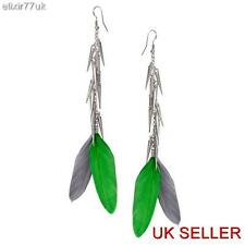 UK NEW LONG SILVER FEATHER CHAIN DANGLE SPIKY DROP EARRINGS SPIKE EAR PARTY GIFT