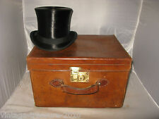 Vintage Leather Top Hat  Box Case Ascot Quality