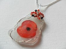 "Pretty Poppy wildflower necklace hand painted english sea glass 18"" silver chain"