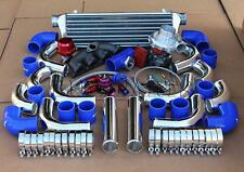T3 TURBO+MANIFOLD+POLISHED INTERCOOLER+BLUE COUPLER KIT FOR D15 D16 HONDA CIVIC