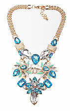 'Now you see me' GOLD METAL,TURQUOISE & CLEAR GEM MEGA STATEMENT NECKLACE(CL29)