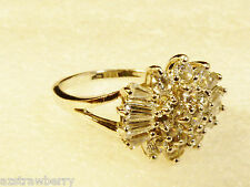 STERLING SILVER 925 CLEAR WHITE CRYSTAL CLUSTER COCKTAIL FASHION RING SZ 9