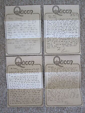 QUEEN : 4 X 1975 HANDWRITTEN FAN CLUB LETTERS REPRO FREDDIE MERCURY