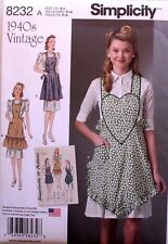 APRON Simplicity Pattern 8232 NEW Size Misses S-M-L Vintage Full Styles