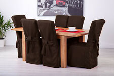 Set of 8 Chocolate Fabric Dining Chair Covers for Scroll Top High Back Leather