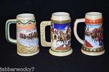 Vintage Lot of 3 Budweiser Christmas Holiday Beer Steins Collection Mugs
