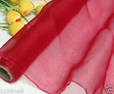 100% Pure Silk Organza Fabric Red Yardage Dress Gauz Tulle Material