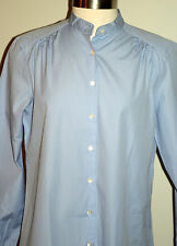 NWT Lands' End Button Up Down Blouse Size Small 6 8 Long Sleeve Blue Shirt Top