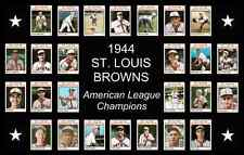 1944 St Louis Browns World Series Baseball Card Poster 17x11 Unique Art Decor