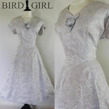 ORIGINAL 1950S VINTAGE PALE BLUE FLORAL ROSE JACQUARD SWING COCKTAIL DRESS 12-14