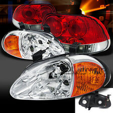 For 93-97 Del Sol 2-in-1 Chrome Headlights+Corner Lamps+Red/Clear Tail Lights