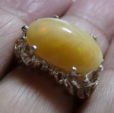Big! Natural Ethiopian Opal 9.00ct Ring 925 Silver,Estate Jewelry,Size 8.0,