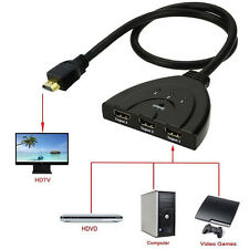 3 Port HDMI 1.3b 1080P HDMI Switch Splitter Cable For HDTV DVD Xbox 360 New