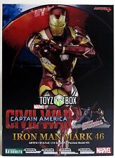 "In STOCK Kotobukiya ""Iron Man MK 46"" Civil War Artfx+ Marvel Comics Now Statue"