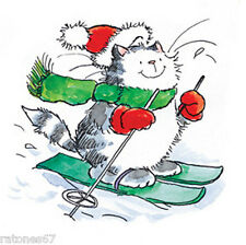 New Penny Black WHITE SLOPES Wood Rubber Stamp Christmas Cat Kitty Santa Ski Fun