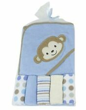 """Blue Monkey"" Soft hooded towel With 5 Wash Clothes Gift Set For New Born babies"